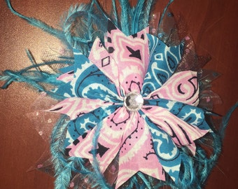 Western Cowgirl Feather Hair Bow