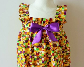 Multi Coloured Love Hearts Print Baby Girl Bubble Romper, Sun Suit,