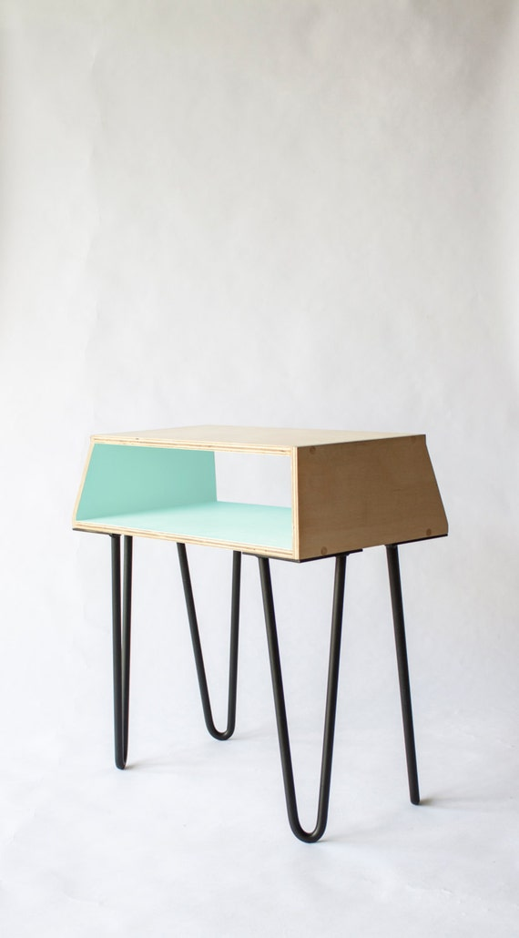Pastel Side Table ~ Bedside table mint pastel green scandinavian by