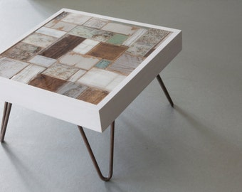 Personalised one of a kind coffee table with printed maps , perfect wedding gift piece of furniture
