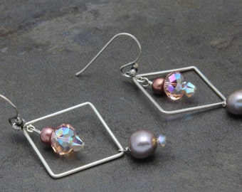 04 - Sterling silver, Swarovski crystals, Pearls, Pink, Square, Dangle Earrings, One of a Kind, OOAK