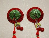Red and light green crystal acrylic nipple pasties w/ tassels and cherry charm