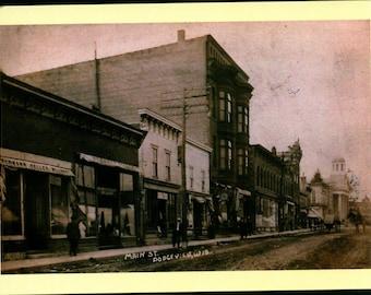 Main St., Dodgeville, Wisconsin REPRO Vintage Postcard