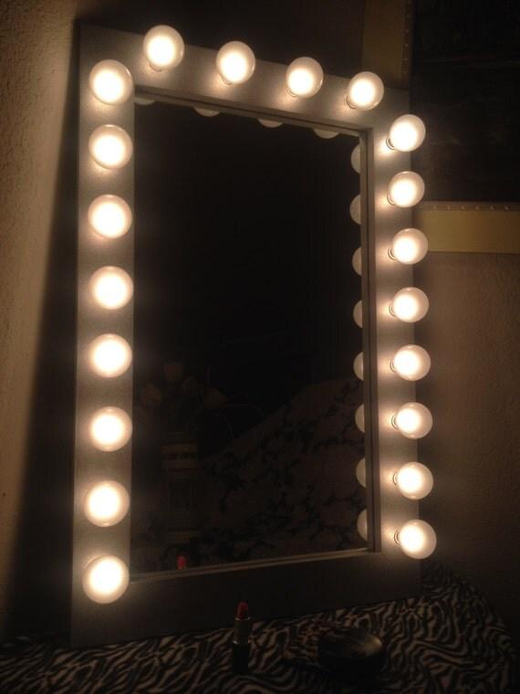 silver space saver lighted vanity mirror bottom of by woodubemine. Black Bedroom Furniture Sets. Home Design Ideas