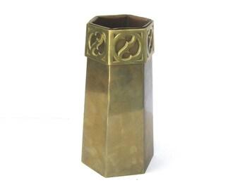Gorham & Company    Bronze Hexagon Vase With Original Copper Liner