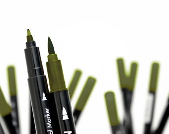 Stamp pencil of bamboo leaves memento dual markers