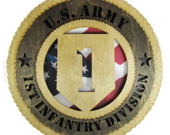 Army 1st Infantry Laser Cut Military Wall Plaque with American Flag - May be Personalized or Customized