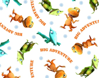 Buddy's Big Adventure Fabric White From Quilting Treasures