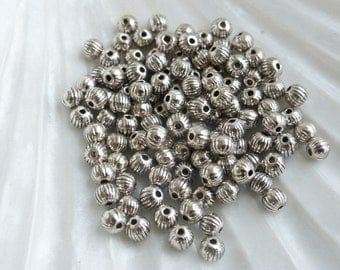 100 x 4mm Round Fluted Pumpkin Spacer Beads Antique Silver Tone, Lead & Nickel Free, Craft Supplies, Beads, UK Seller (MBX0072)
