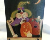painted canvas hallowen fall cat with pumpkin spiders