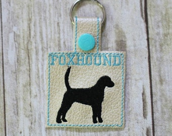 FOXHOUND - Dog - In The Hoop - Snap/Rivet Key Fob - DIGITAL Embroidery Design