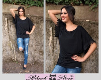 Bohemian shirt Miss Art Deco Black Drama boho casual tunic Gothic Retro Pinup