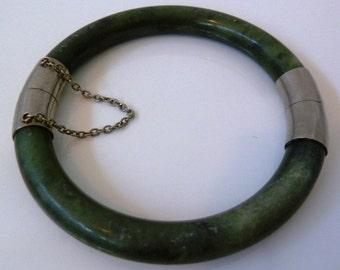 Vintage Natural Jade & Sterling 925 Silver bracelet Bangle cuff