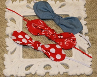 Summer patriotic 4th of July knot headband set, skinny elastic, baby girl, accessories, gifts under 15