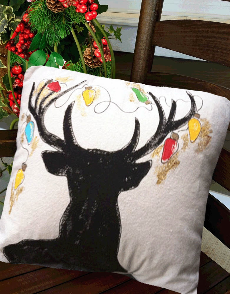 Deer decorations indoor outdoor cushions deer silhouette for Christmas deer decorations indoor