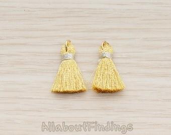 PDT1276-01-G // Gold Plated O Ring Gold Tassel Pendant, 2 Pc
