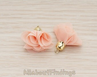 PDT1299-AP // Apricot Gold Plated Flower Petal Shaped Bell Cab Silk Tassel Pendant, 2 Pc