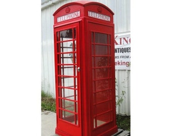 Red British London Phone Booth Replica, Cast Iron Aluminum Metal, Old English Style