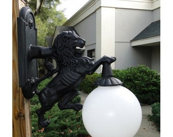 Wall Mounted Lion Sconce Light for Indoor or Outdoor, Fixture Metal Building, Detroit Lions