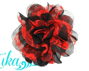 Black Red Lace Flowers - Christmas Flowers - Chiffon Flower - Lace rose - Shredded Lace Flower - Wholesale - Supply - DIY- 3.75 inch