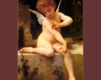 "11 x 14"" canvas art print. Cupid with a butterfly,  BY William Adolphe BOUGUEREAU"