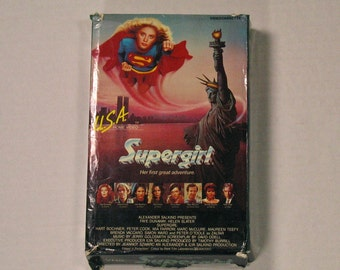 80s Supergirl VHS Video Tape Original with box mia farrow helen slater vintage film cassette cult classic