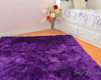 luxurious purple shaggy fur rectangle area rug sheepskin baby nursery rug bedroom decor made in usa