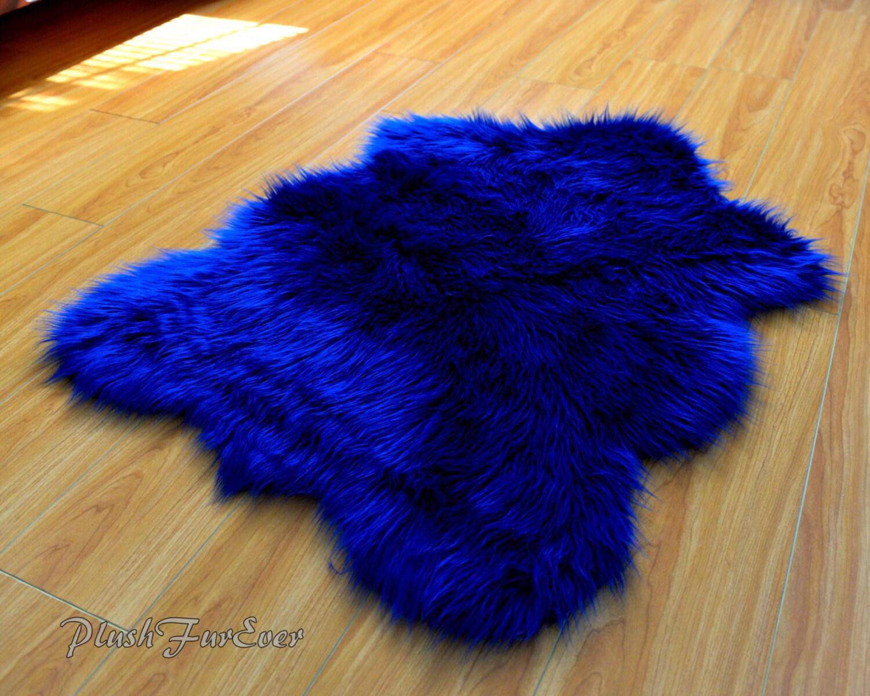 Navy Blue Shaggy Plush Sheepskin Faux Fur Nursery Rug Luxury