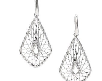 Diamond Shaped Earrings in 925 Sterling Silver