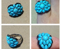 Sleeping Beauty chaos ! Sterling Silver Sleeping Beauty Turquoise & Black Spinel Ring