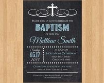 Boy Baptism Invitation, Baptism Invitation Boy, Printable Baptism Invitation, Baptism Invitation for Boy, Christening Invite LDS Chalkboard