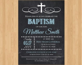 Boy Baptism Invitation, Baptism Invitation Boy, Printable Baptism Invitation, Baptism Invitation for Boy, Christening Invite LDS Chalkboard