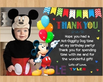 Mickey Mouse Thank You Card with Photo, Mickey Thank You Card Note, Mickey Mouse Printable Chalkboard Thank You matches Birthday Invitation