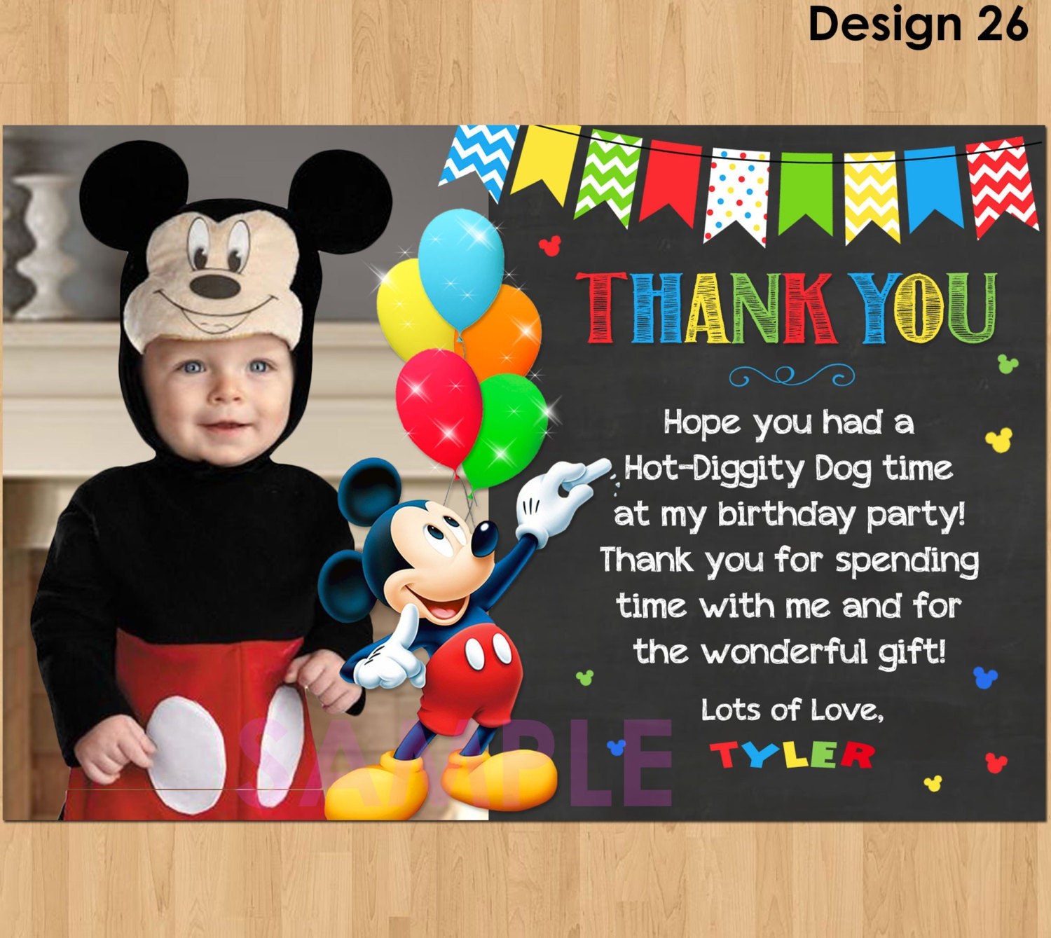 Mickey Mouse Thank You Card with Mickey Thank You Card