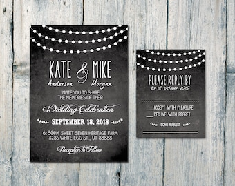 Digital - Printable Files - Night Lights Garland Wedding Invitation and Reply Card Set - Wedding Stationery - ID511
