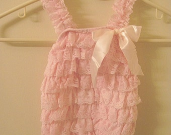 Baby Toddler Ruffle Petti Romper With Straps Light Pink Size Large