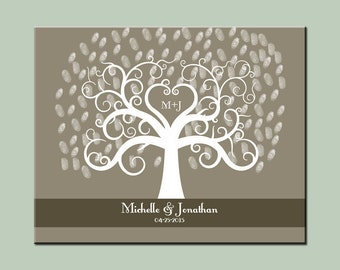 Modern Guestbook Alternative, Wedding Thumbprint Tree, Elegant Wedding Thumbprint Tree, Neutral Color Wedding Decor, Wedding Tree Print