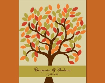 Fall Wedding, Signature Tree with 105 Leaves, Autumn Wedding Decor,  Alternative Guestbook Tree, Cusom Wedding Tree Signature Guestbook