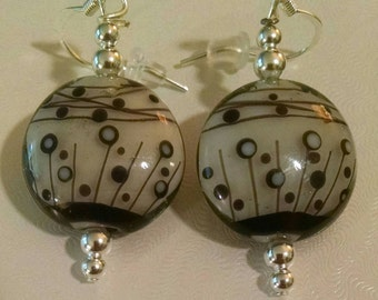 Black and White Abstract Glass Bead Earrings Item No. 10