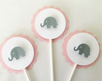 Elephant Cupcake Toppers in Pink and Grey, Elephant Baby Shower Decorations in Pink and Gray, Set of 12