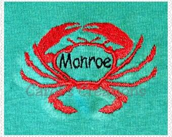 Embroidery Design/Crab Monogrammed Design/Machine Embroidered/Personalized Crab Monogram/Download Crab Monogram/Embroidery File/Digital File