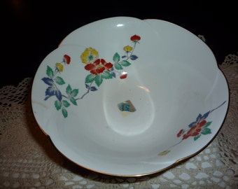 Oriental Scalloped Floral Bowl