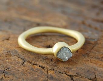 Rough Diamond Ring, Gold Ring, Unique Diamond Ring, Unusual Engagement Ring, Handmade Gemstone Ring, Organic Ring, Natural Stone Ring