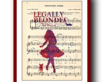 Legally Blonde  Poster 2 Watercolor  School Musical Poster  Wall Art Print 8x10 Wall Decor  Book Page Upcycled Dictionary