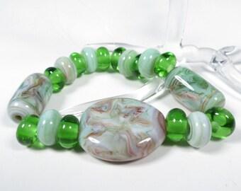 Green/Brown/Cream Swirl - Handmade Lamp-work Bead Set - 19 beads