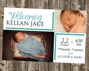 Baby Announcement- Welcoming Introducing, simple with teal lines