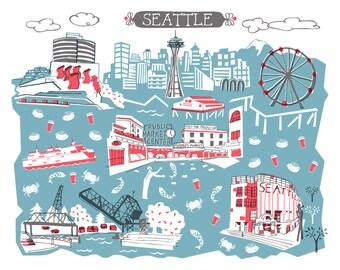 Wall Art-Seattle-Art Print-3 Color-City Illustrations-10x8-Blue Grey-Red-Dark Grey