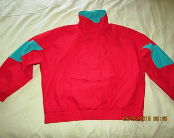 Vintage Eddie Bauer Gore Tex pull over mint neon bright 90s hip hop women's medium