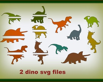 Dino Party pack svg files split  and regular dinos 2 SVG files