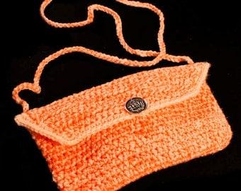 Crochet Boho Purse Handmade Tangerine and Light Yellow,